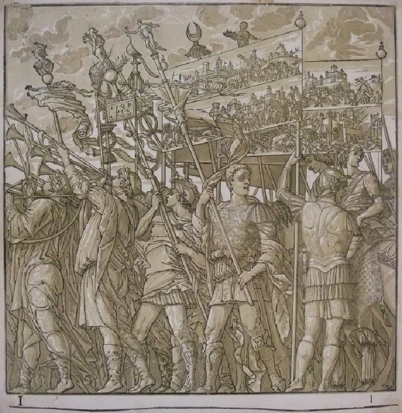 A procession of Roman soldiers carrying banners