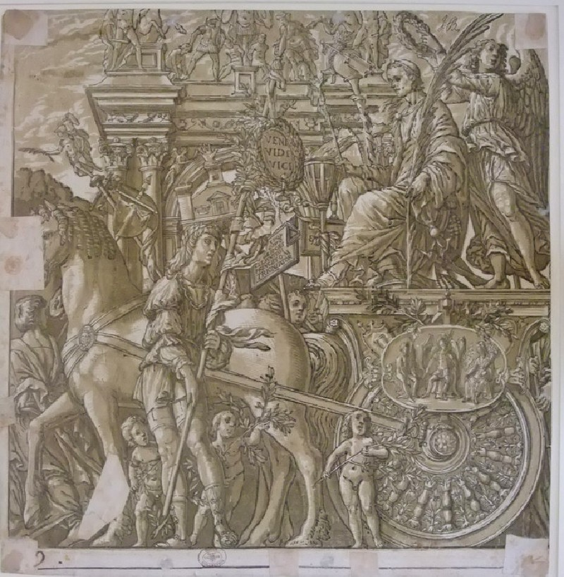 Julius Caesar on a horse-drawn chariot being crowned with a laurel wreath, soldiers carrying insignia, a triumphal arch in the background