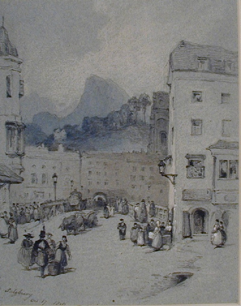 Figures crossing a Bridge, Salzburg (WA1881.187, record shot)