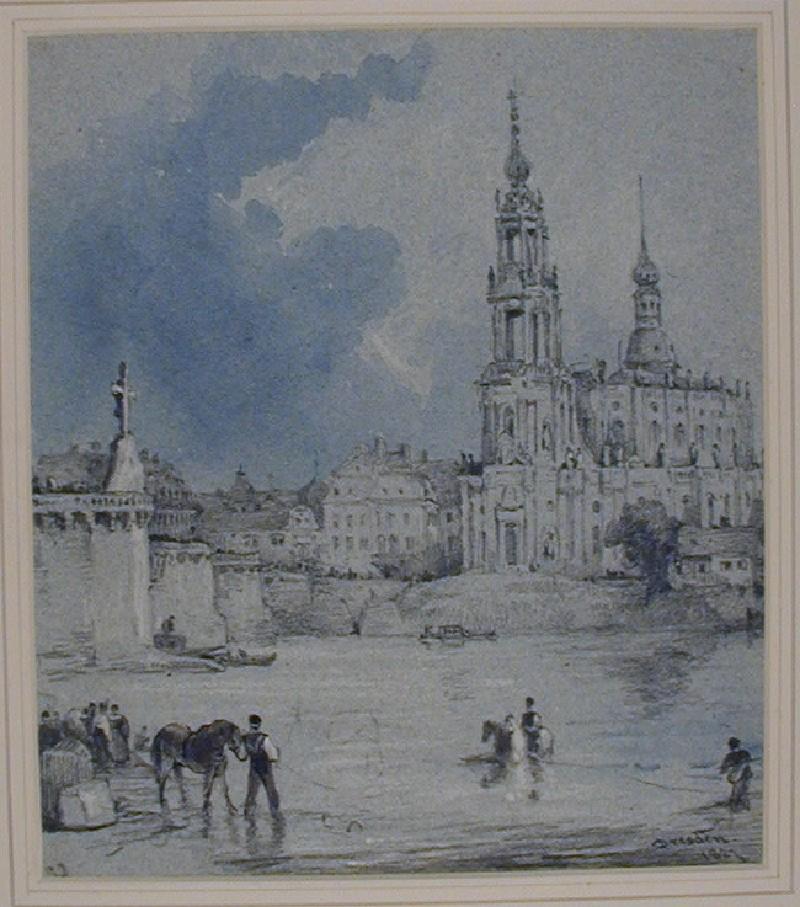 Katholische Hofkirche and Schloss, seen from the Elbe, Dresden