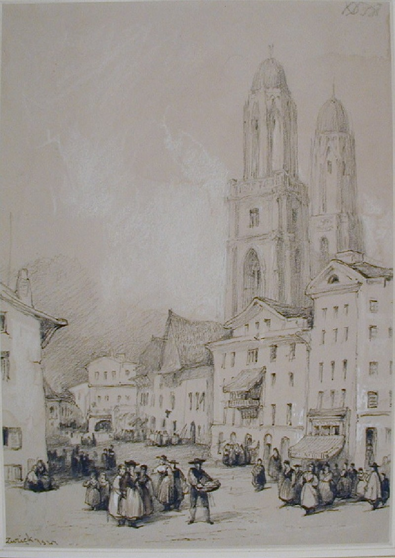 The Grossmünster from the North West, Zurich