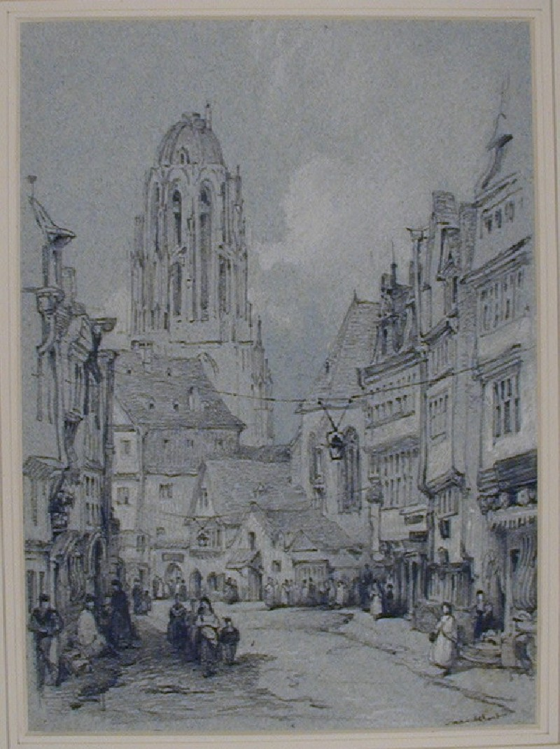 Street Scene with the Cathedral in the Background, Frankfurt
