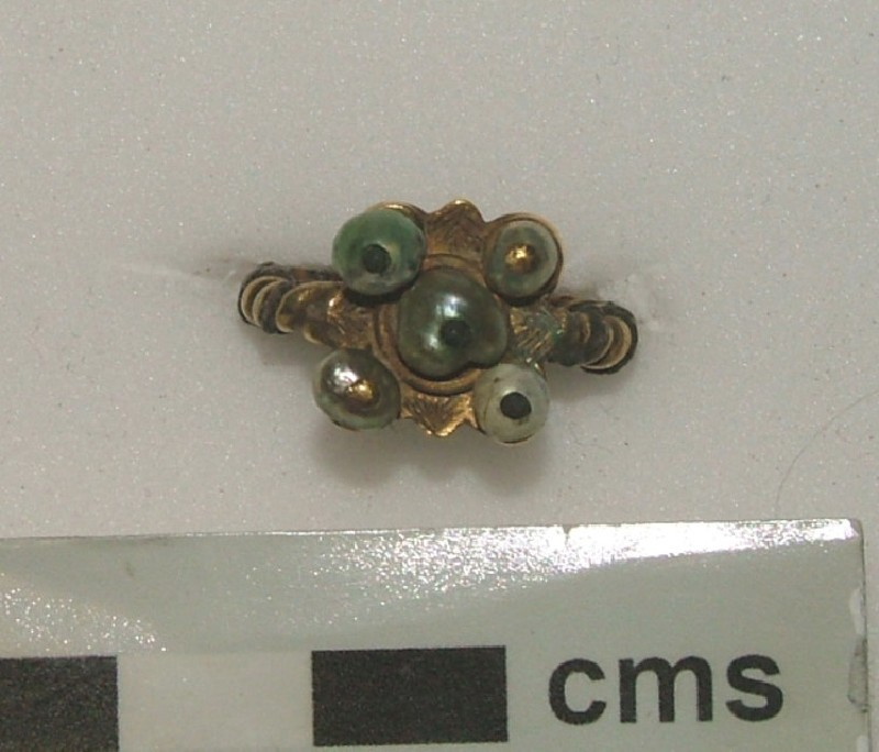 Ornamental ring with five pearls (WA1897.CDEF.F382, record shot)