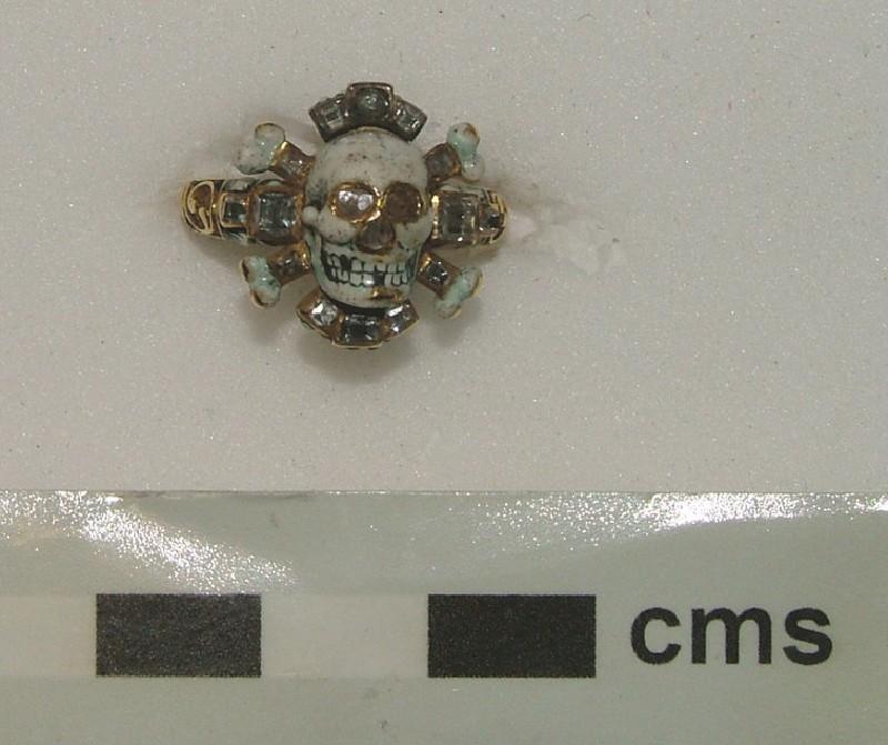 Memento mori ring with skull and cross-bones (WA1897.CDEF.F476, record shot)