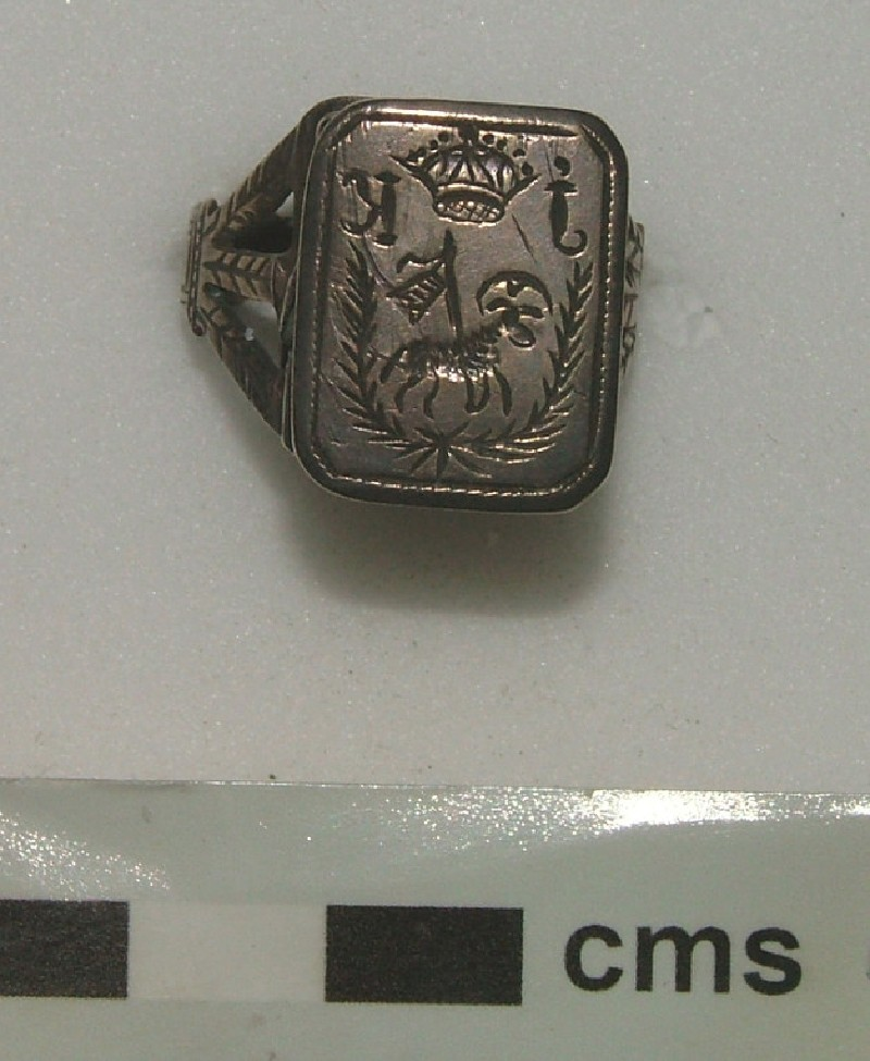 Signet ring engraved with an Agnus Dei and a crown between I and K (WA1897.CDEF.F541, record shot)