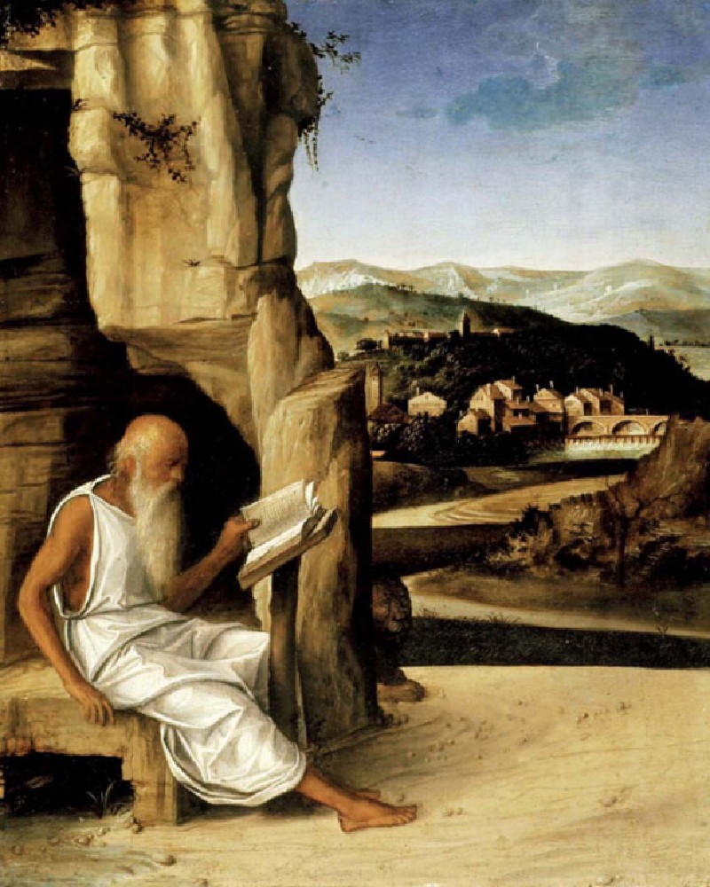 St Jerome reading in a Landscape (WA1899.CDEF.P1, record shot)