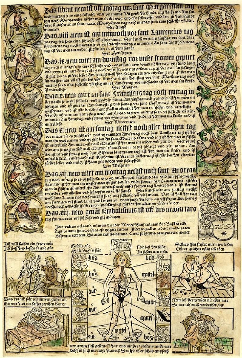 Lower half of a calendar for 1499