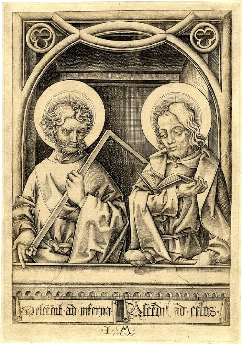 St Thomas and St Judas Thaddaeus from the series of the twelve Apostles in half length under arches
