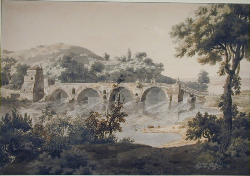 The Ponte Molle and the Tiber in Flood