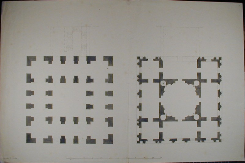 Design for the Radcliffe Library: Ground Plan and first-floor Plan (WA1925.329, record shot)