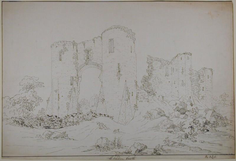 Recto: LLehaiden Castle<br />Verso: Sketch of a church (WA1926.42, record shot)