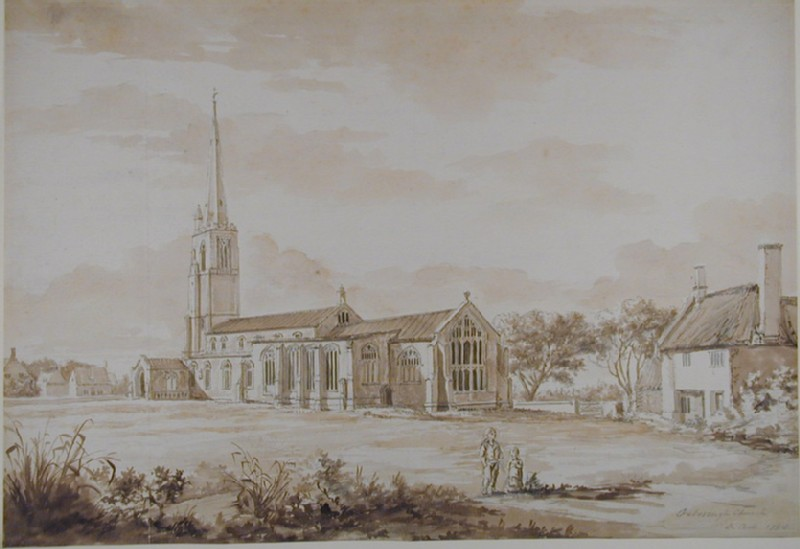 Oxborough Church with the chapel built at the north side for the monuments of the noble Bidulphs family (WA1926.44, record shot)