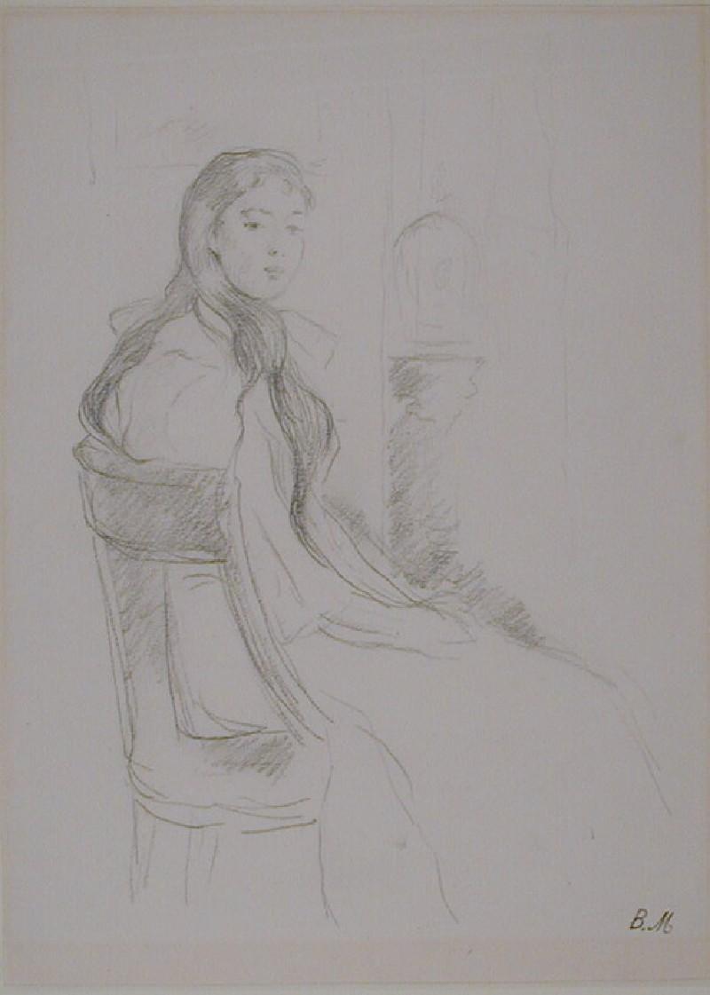 A girl seated on a 'chaise en gondole'