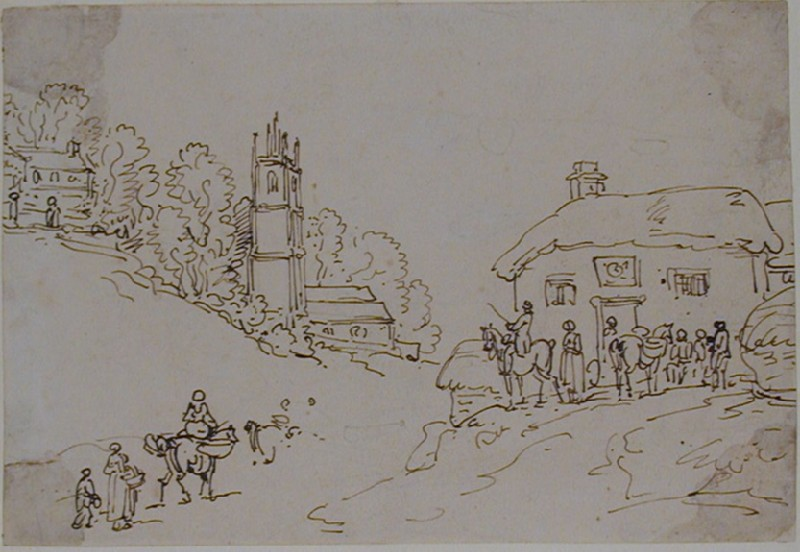 Recto: A Village Scene<br />Verso: Study of female figures