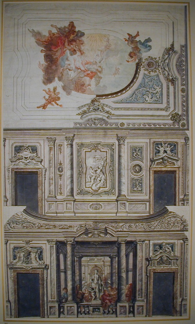 Architectural design: elevation of the interior of a palace