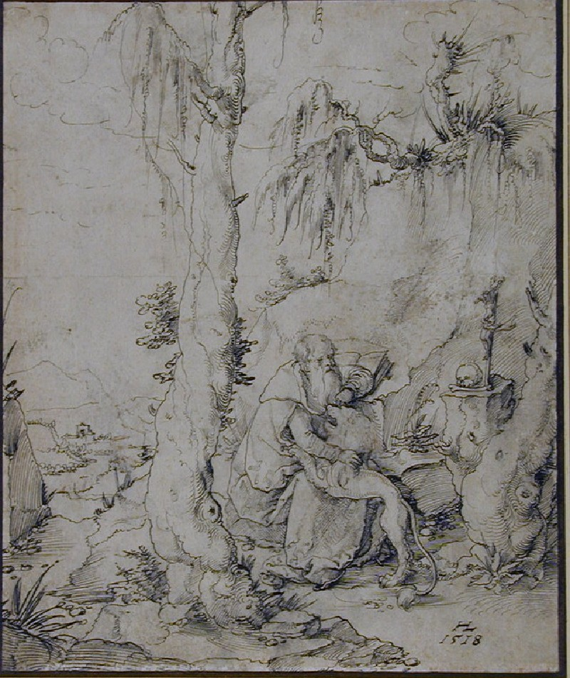St Jerome in the Wilderness, the saint seated next to a tree while removing a thorn from the animal's paw (WA1948.126, record shot)