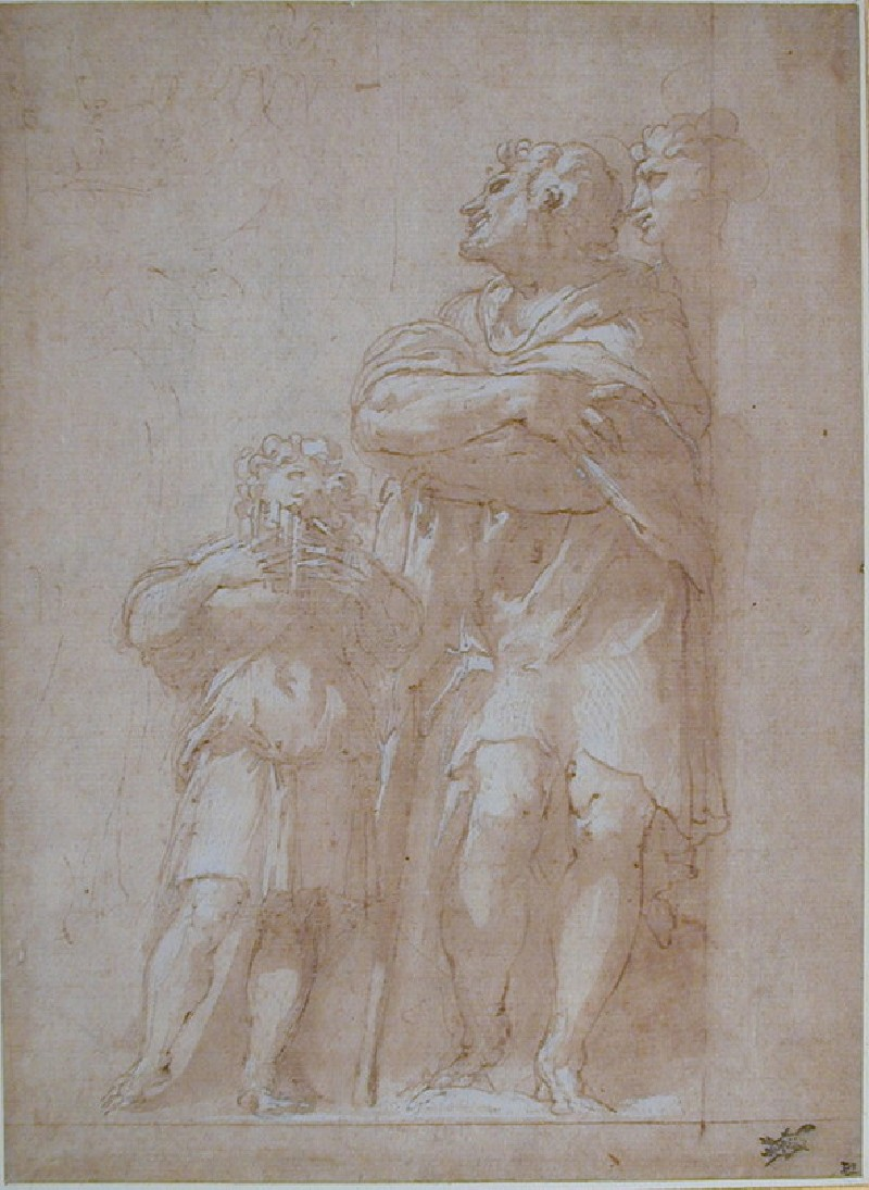 Figure group with a child playing pipes