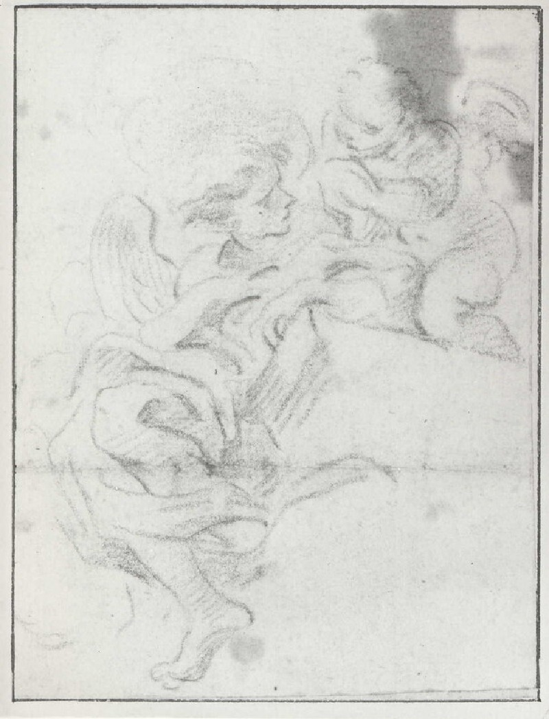 Angel seated on a Cornice with a winged Putto behind