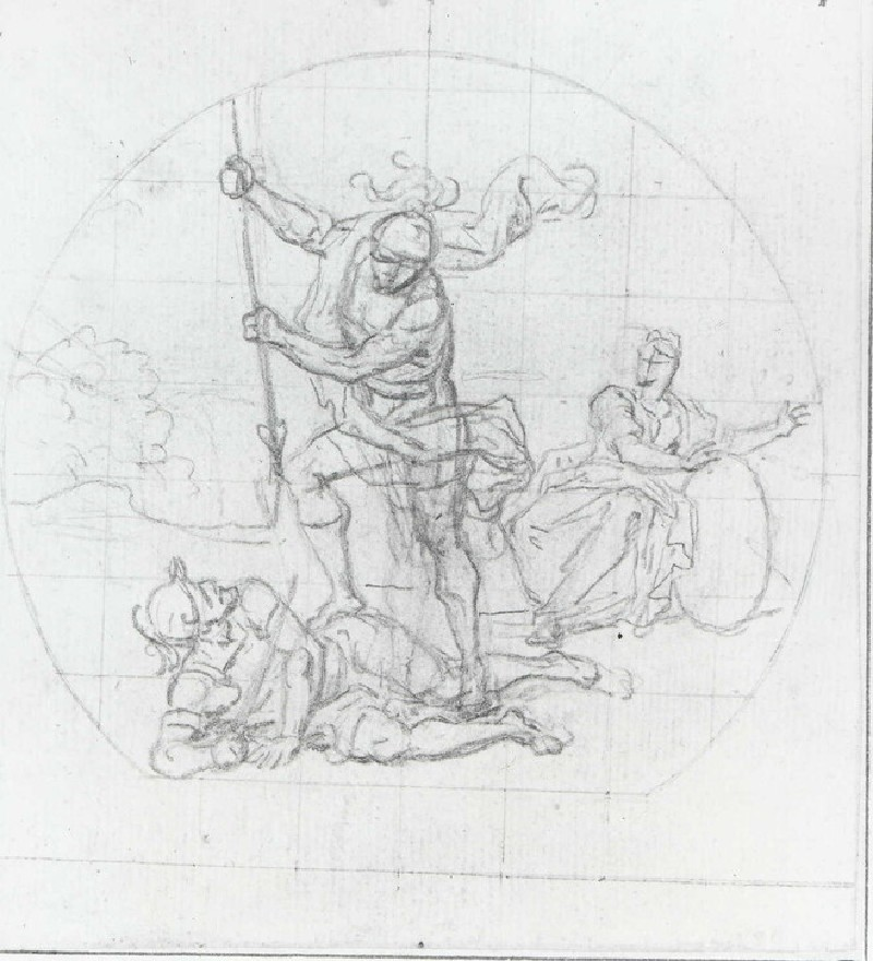 Two Soldiers in Combat, with a seated Woman on the right