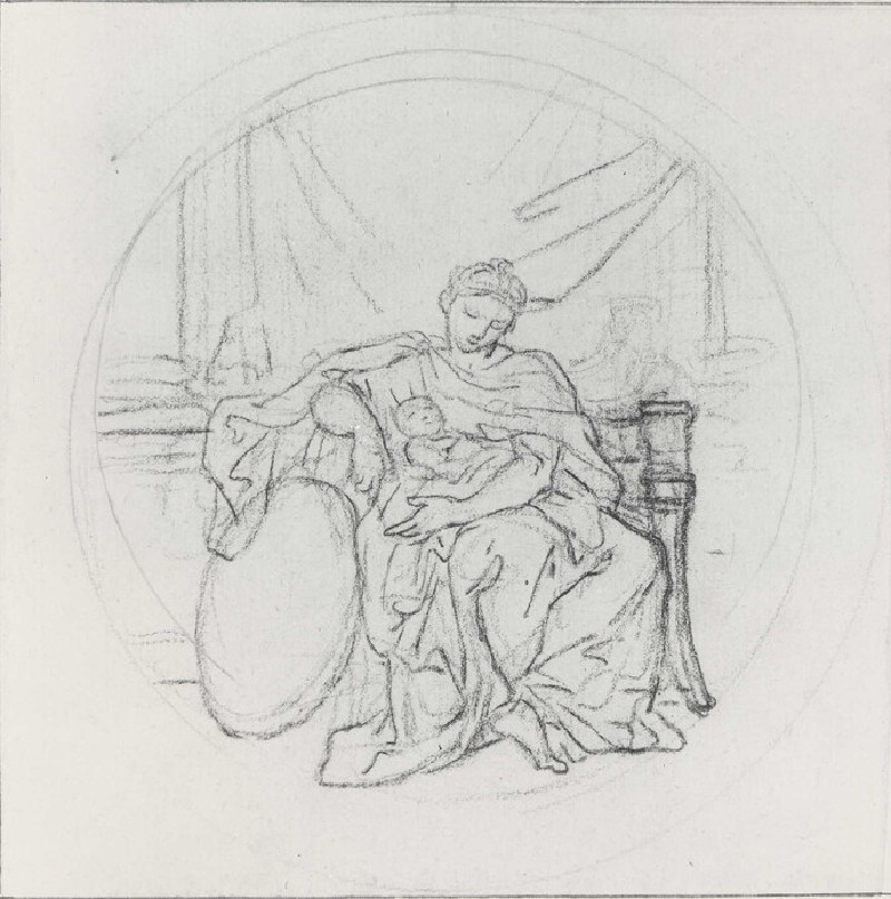 Woman seated on a Throne with a Child on her Lap