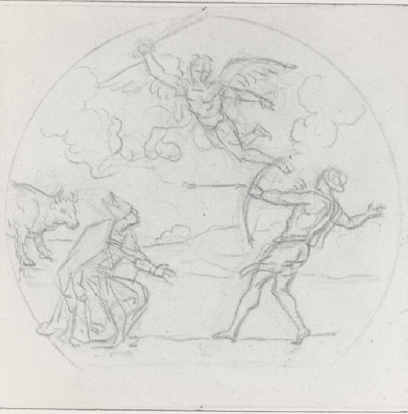 Kneeling Bishop with a Bull on the left, an Archer on the right, and an avenging Angel above