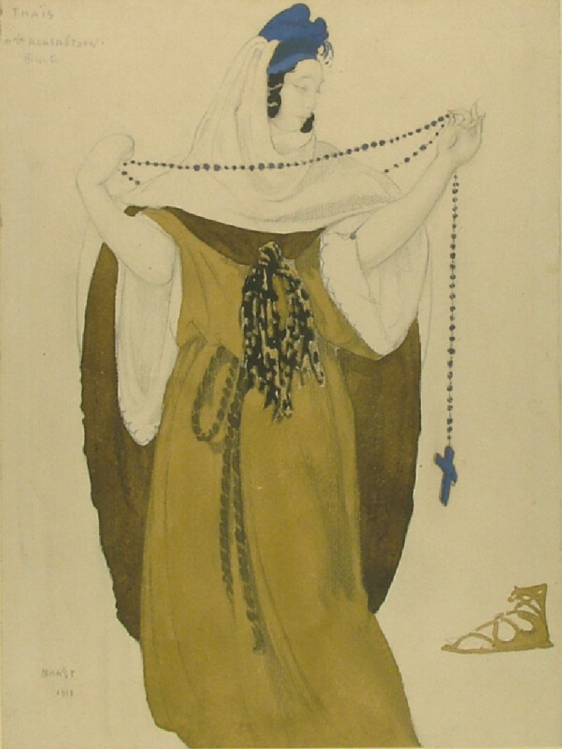 Design for Mme Kuznetsova's Costume in Act III of 'Thais' (WA1949.373, record shot)