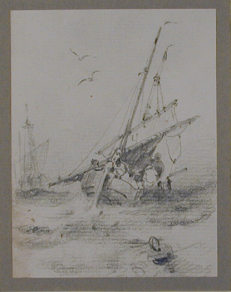 Ship at sea with sail lowered and crew