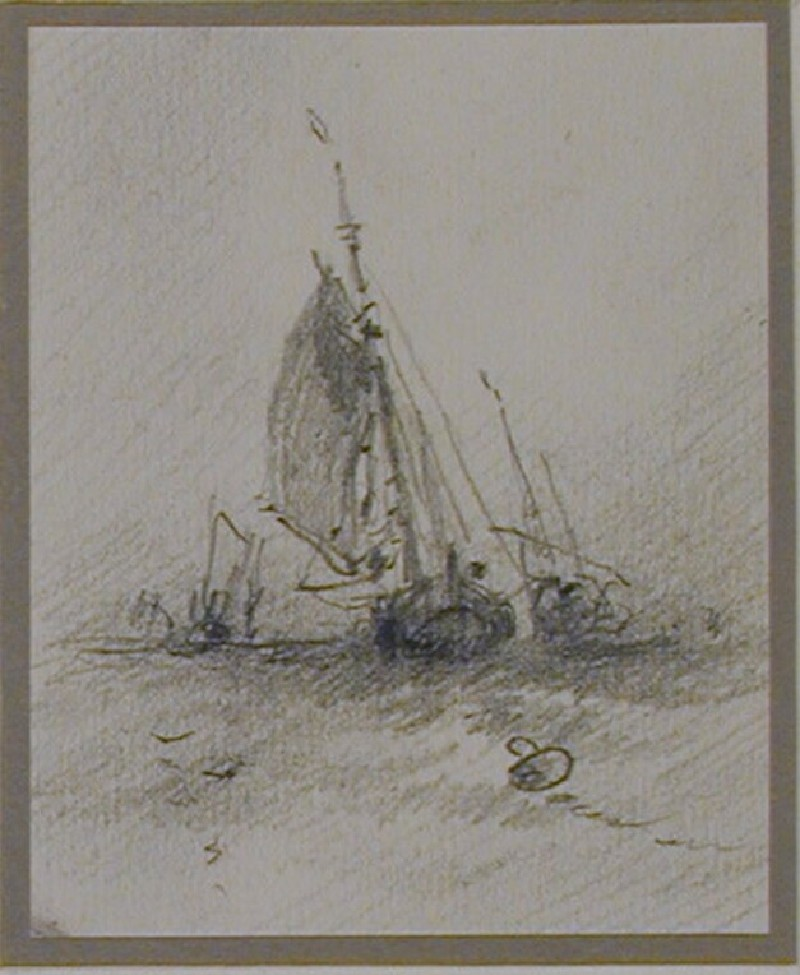 Three ships at sea, plus buoy