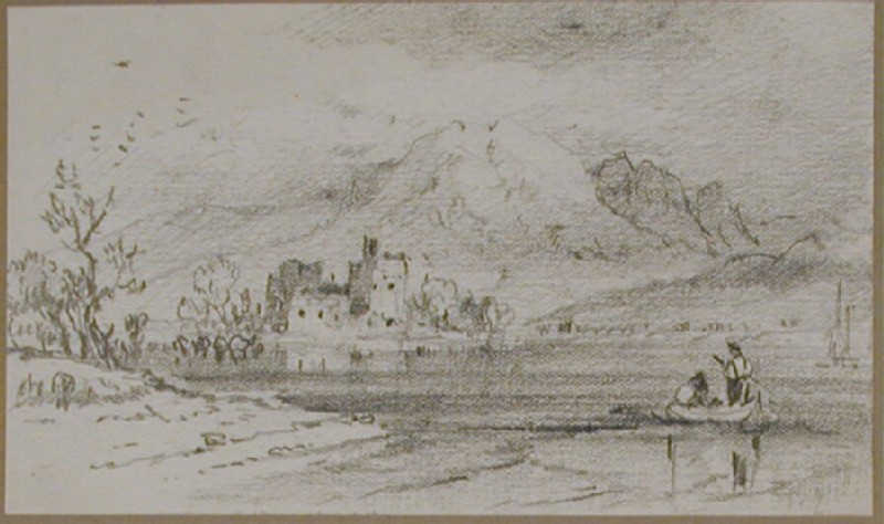 Mountain lake with castle and a couple in a boat (WA1950.178.151.236, record shot)
