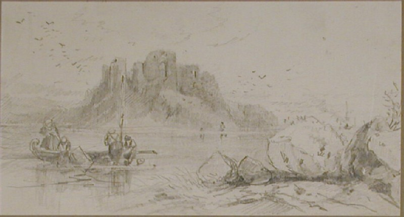 People in small boats in front of a castle on a rocky island (WA1950.178.151.237, record shot)