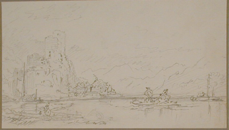 Castle overlooking a lake with people boating