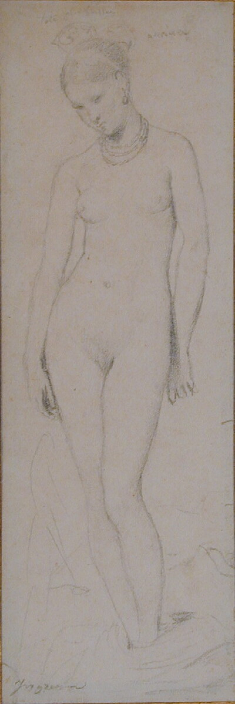 Standing female nude, wearing a cap and necklace