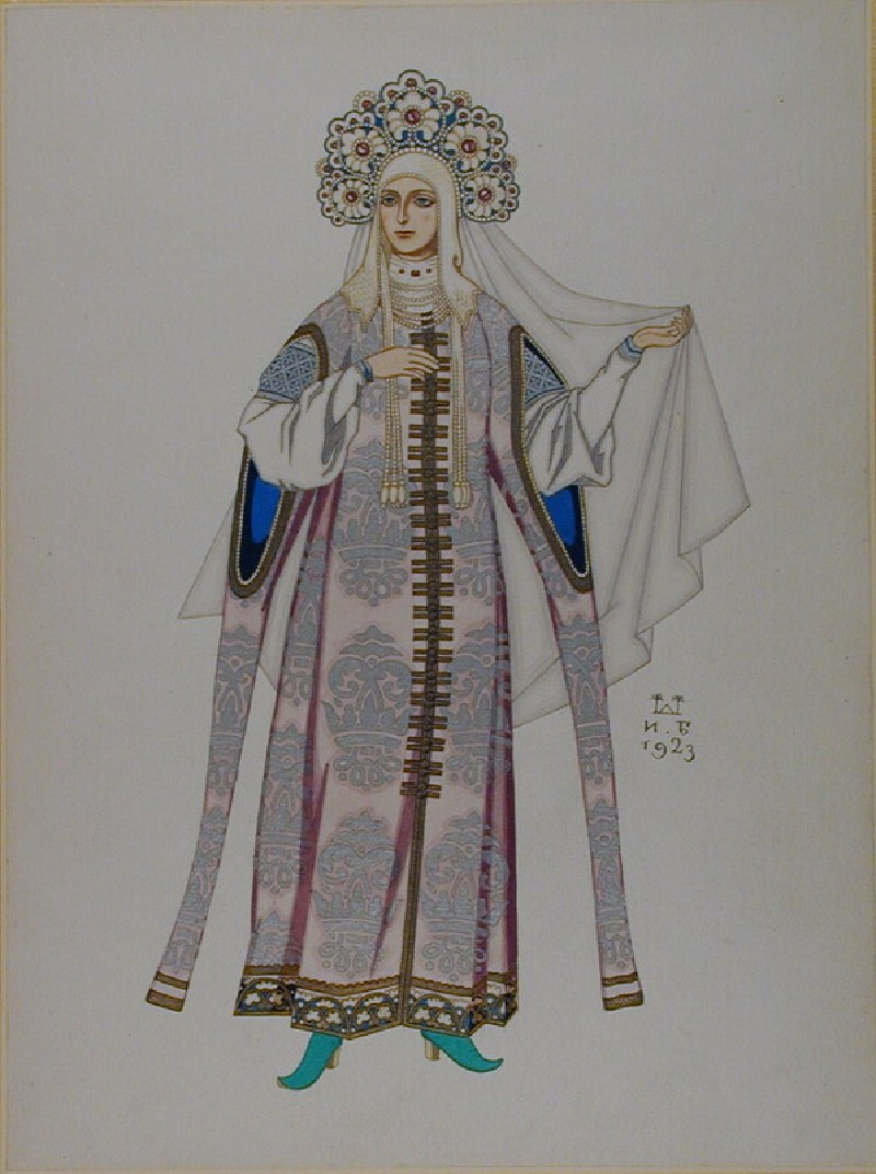 Design for the Costume of a Russian Fairytale Princess (WA1960.36.18, record shot)