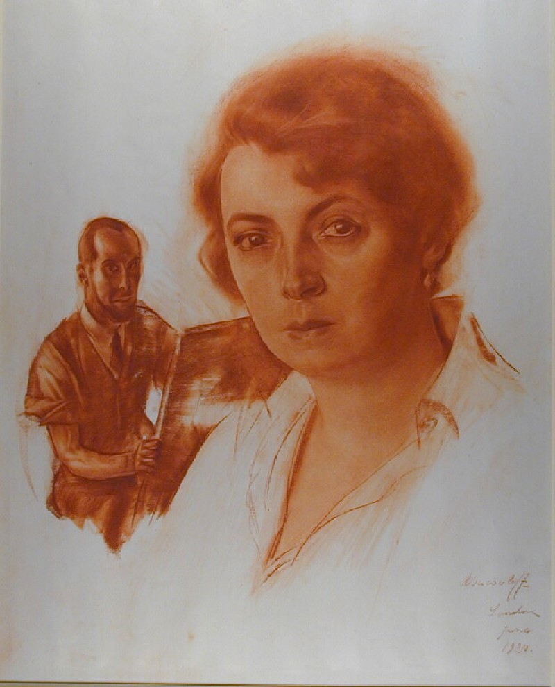 Portrait of Dr Tatiana Gourlande (1886-1957) with the artist in the background
