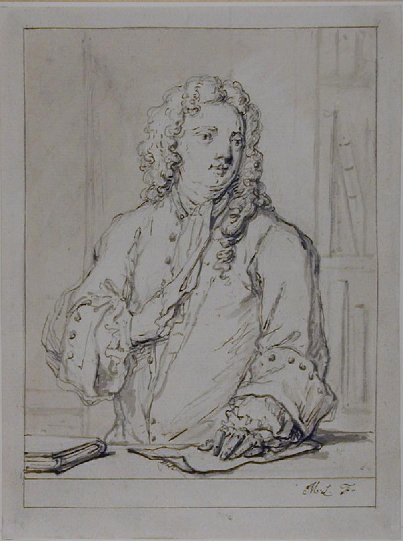 Recto: Portrait of an unknown man<br />Verso: Slight sketch of a landscape (WA1961.43, record shot)