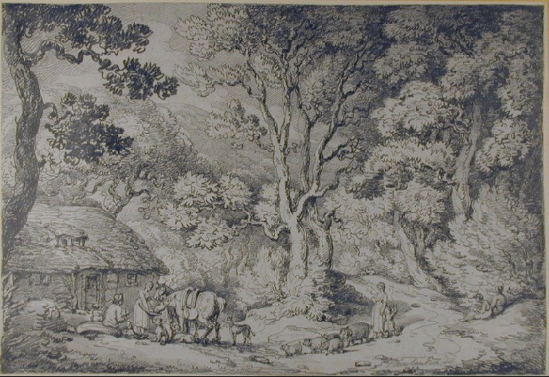 Wooded Landscape with Peasants and Animals outside a Cottage