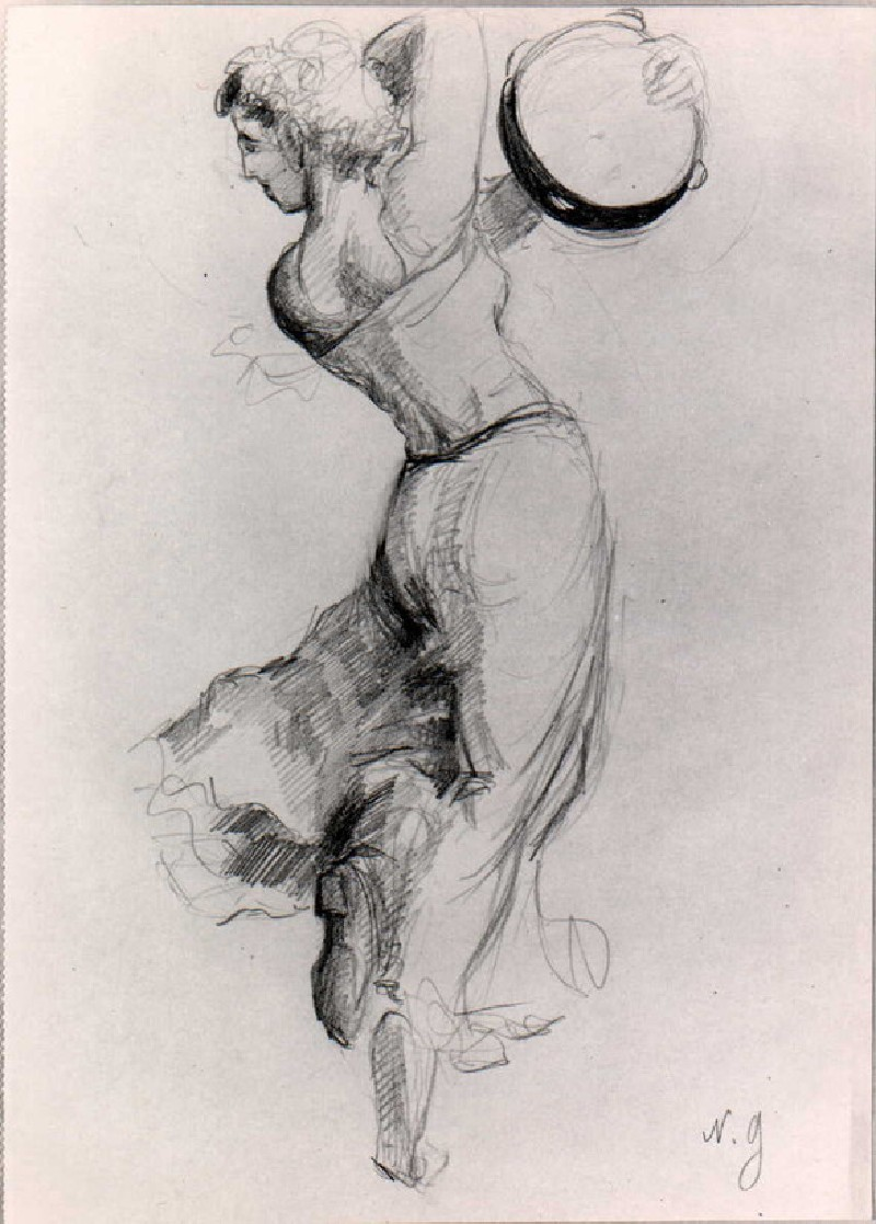 Sketch of a woman dancing with a tambourine (WA1966.44.5, record shot)