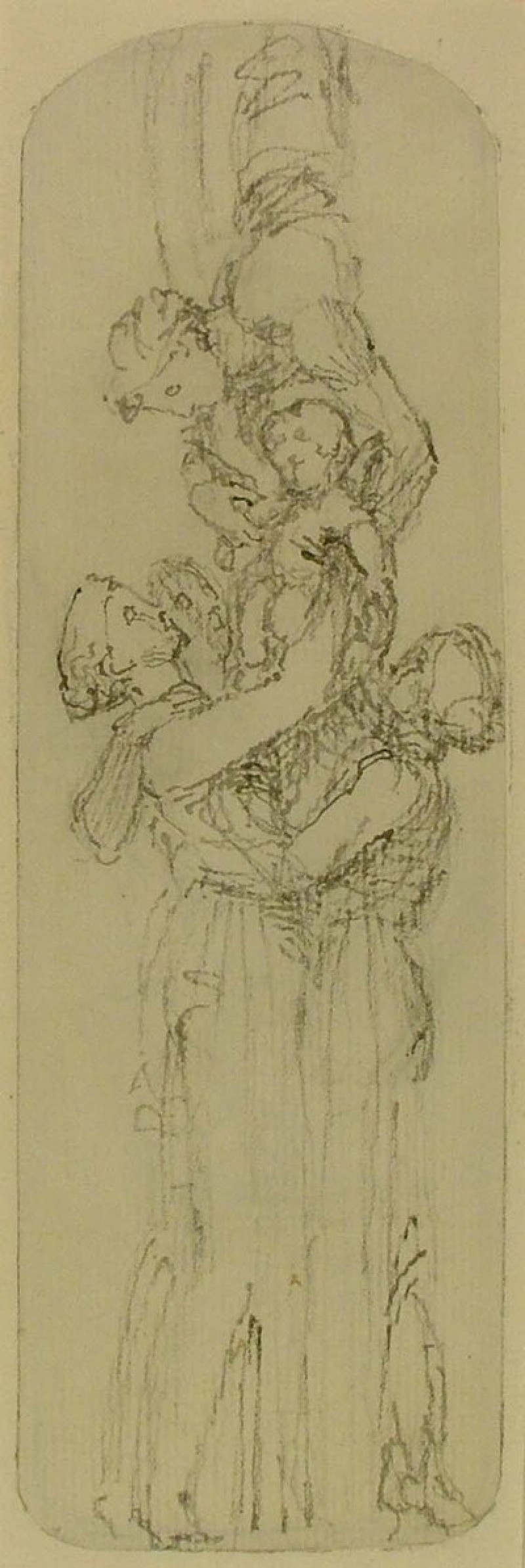Recto: Design for a Candelabrum (Mercury Presenting the Infant Bacchus to the Nymphs)