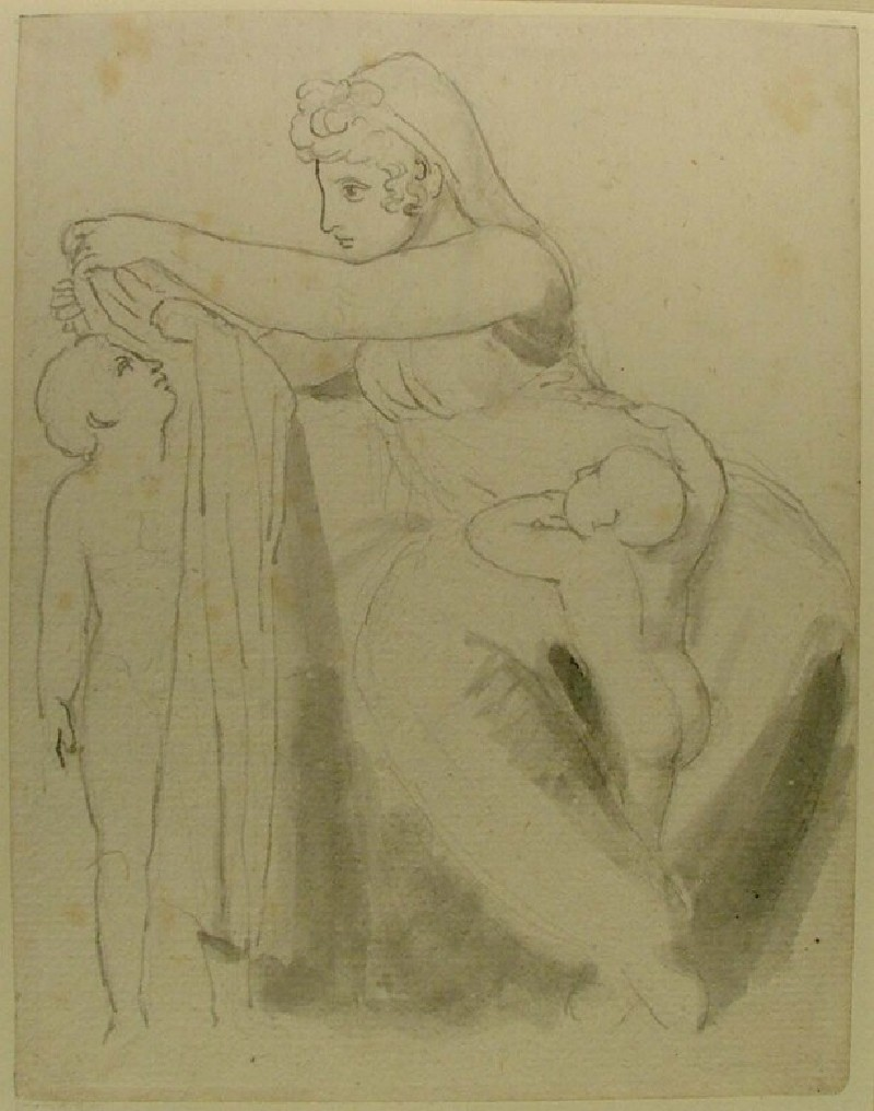 Recto: A seated woman and two children