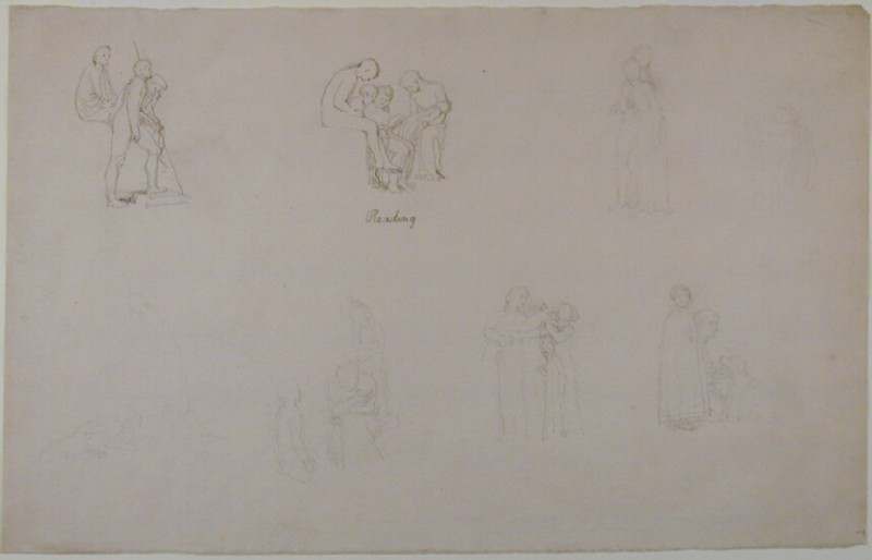 Sheet of studies: Classical figures, and familiar subjects (WA1969.35, record shot)