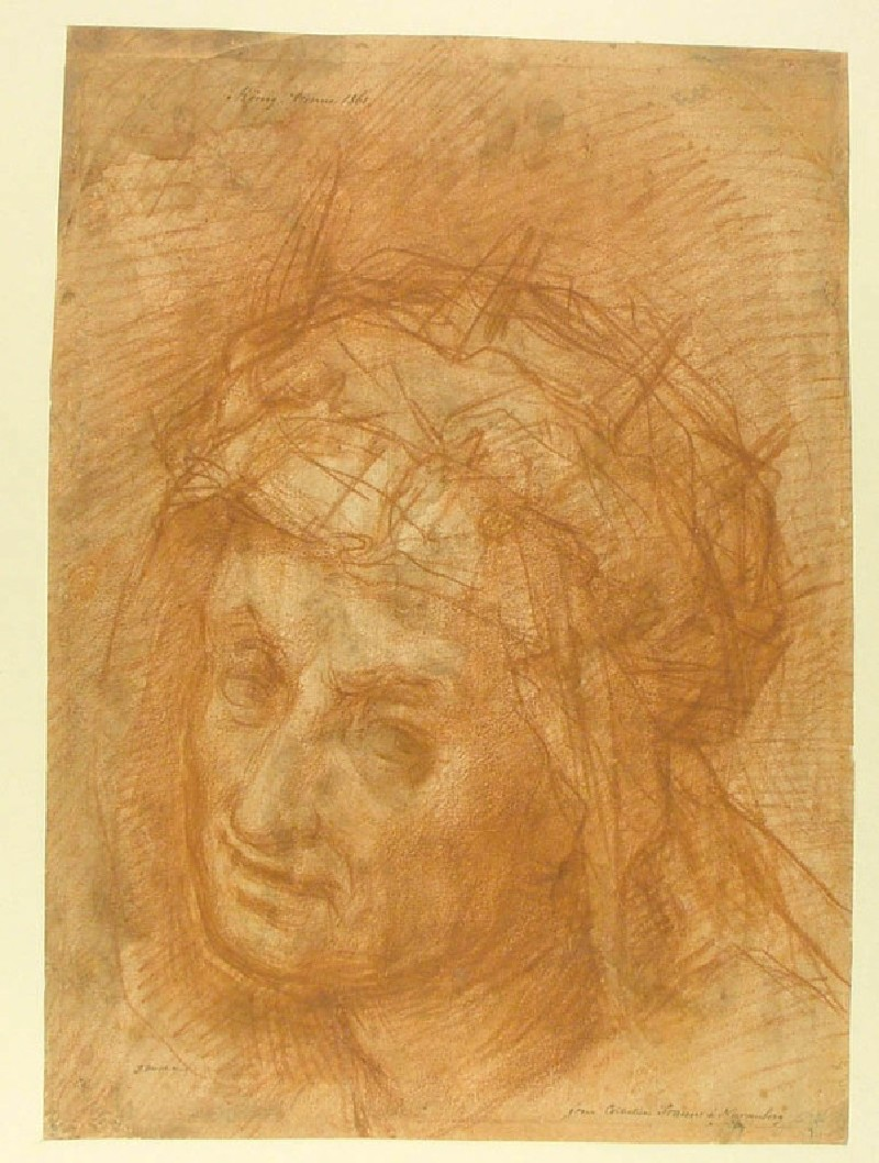 Recto: Head of St Helena<br />Verso: Study for a composition of St Luke with St Antony and St Blaise