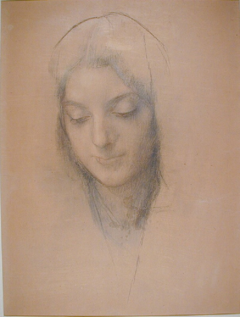 Head of a woman with eyes lowered