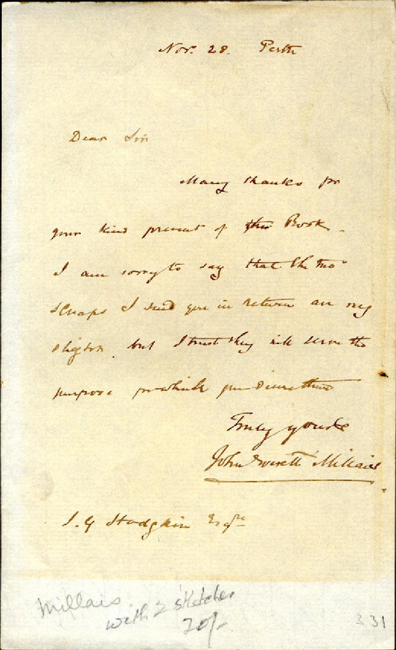 (WA1984.153, Letter from Millais to J.G. Hodgkin, November 28, Perth, record shot)