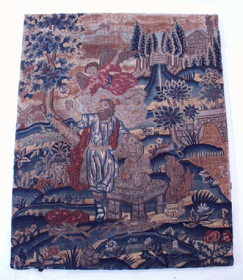 Embroidered picture with The Sacrifice of Isaac