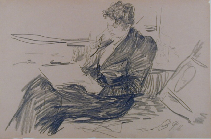 Seated Woman, in profile, reading (WA1993.364, record shot)