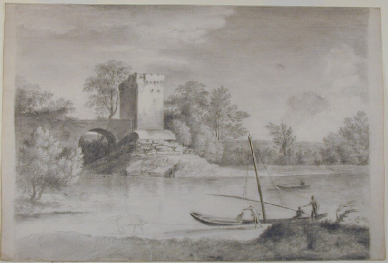 Landscape with a Tower and a Bridge beyond a River (WA1996.488, record shot)