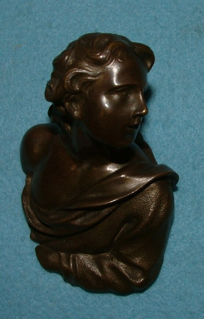 One of a pair of door handles in the form of busts of lovers in conversation (WA1899.CDEF.B1068, record shot)