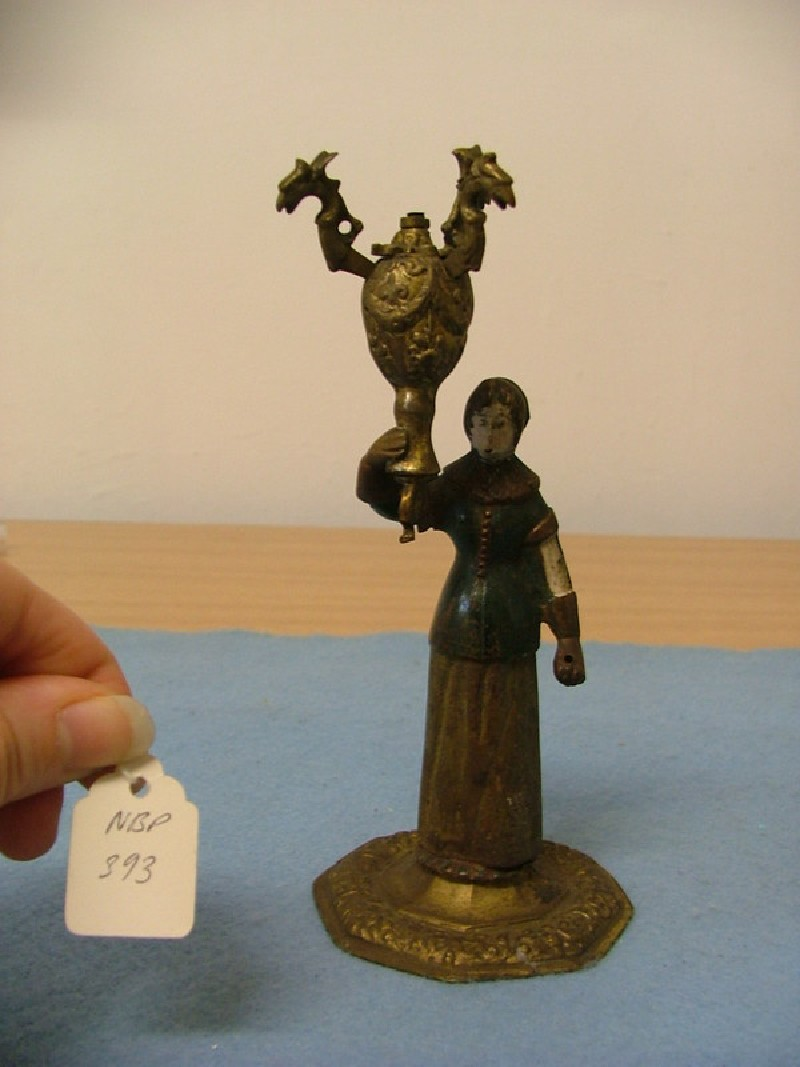 Drinking-glass holder in the form of a lady, one of a pair (WA1908.243, record shot)