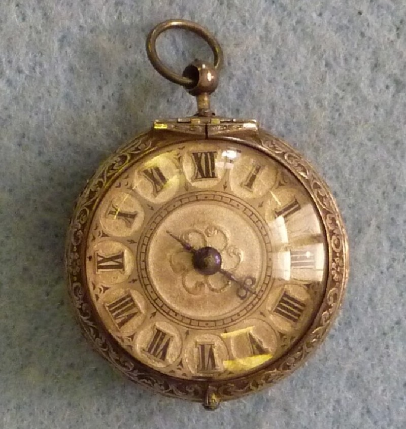 Silver and leather pair-cased verge clock-watch (WA1947.191.74, record shot)