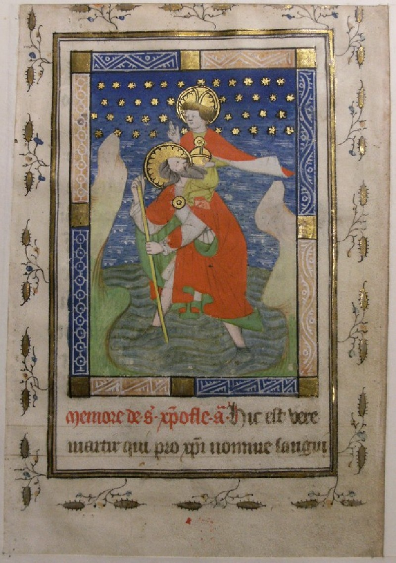 Recto: St Christopher bearing Christ, from a Book of Hours